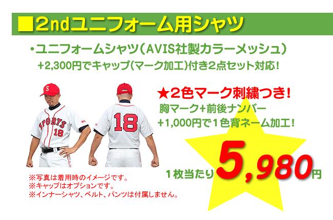 野球ユニフォーム作成 2ndユニフォーム5,980円