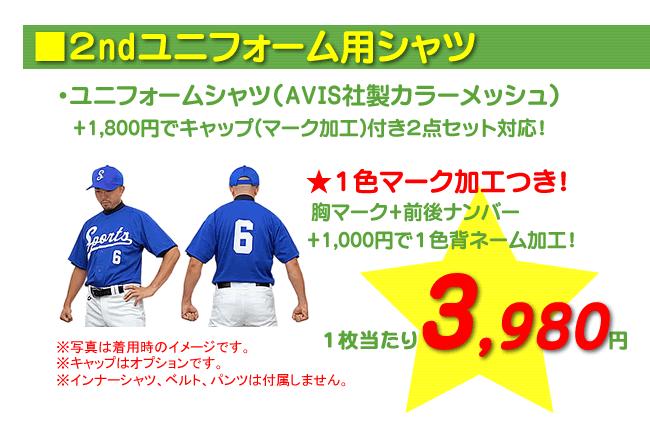 野球ユニフォーム作成 2ndユニフォーム3,980円